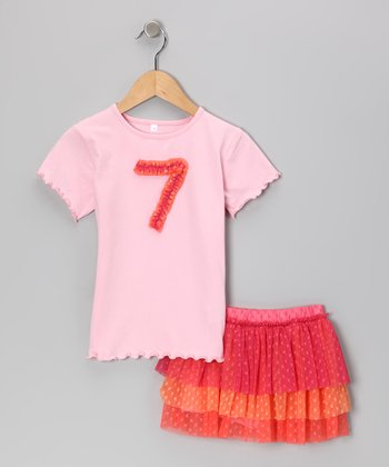 Pink '7' Tee & Tiered Tulle Skirt - Girls