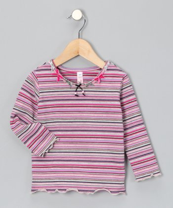 Pink & Gray Stripe Tee - Infant, Toddler & Girls