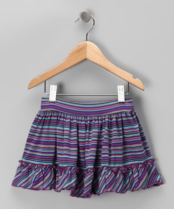 Purple & Teal Stripe Skirt - Toddler & Girls