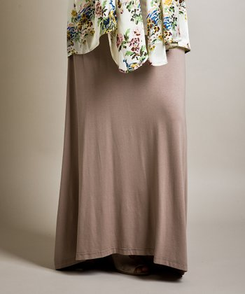 Beige Bella Maternity Maxi Skirt