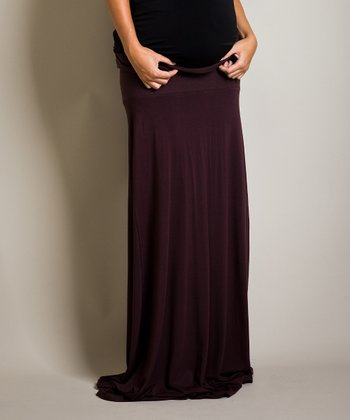 Brown Bella Maternity Maxi Skirt