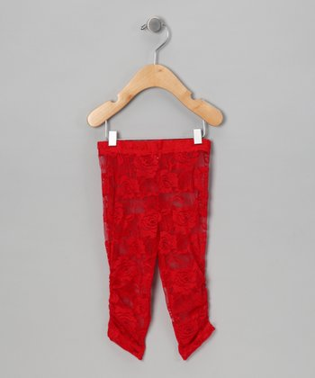 Red Lace Leggings - Infant, Toddler & Girls