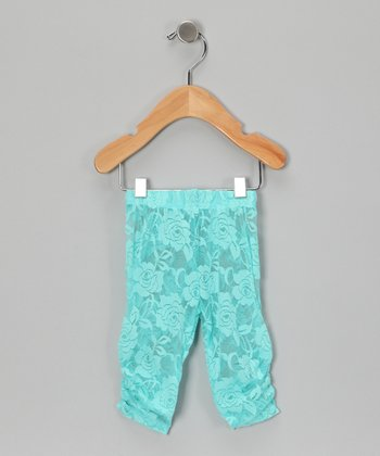 Teal Lace Leggings - Infant, Toddler & Girls