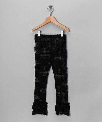Black Ruffle Lace Leggings - Infant