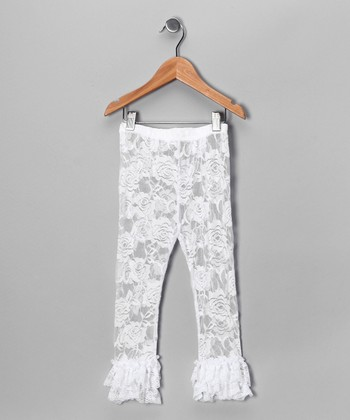 White Ruffle Lace Leggings - Infant & Girls