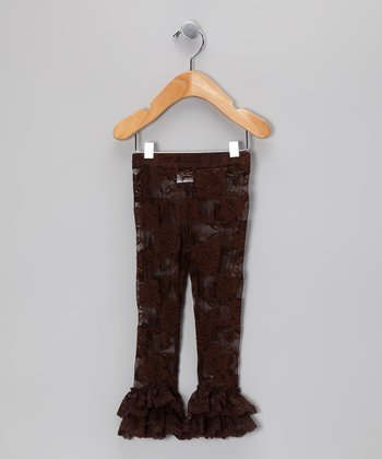Brown Ruffle Lace Leggings - Infant