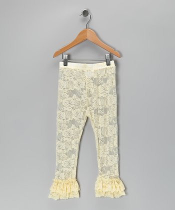 Cream Ruffle Lace Leggings - Infant, Toddler & Girls