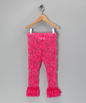 Hot Pink Ruffle Lace Leggings - Infant, Toddler & Girls
