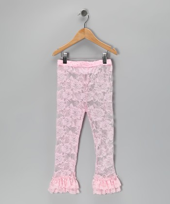 Light Pink Ruffle Lace Leggings - Infant & Toddler