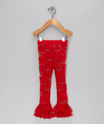Red Ruffle Lace Leggings - Infant