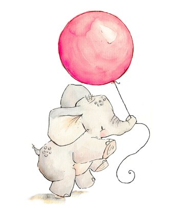 Bubblegum Elephant's Balloon Print