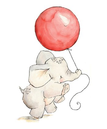 Cherry Elephant's Balloon Print