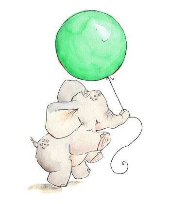 Mint Elephant's Balloon Print