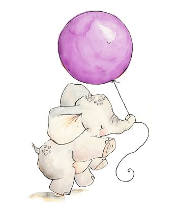 Plum Elephant's Balloon Print