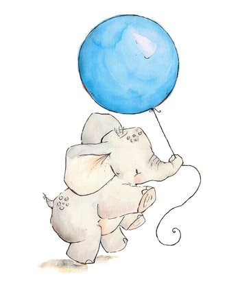 Sky Blue Elephant's Balloon Print