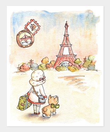 Girl Paris Postcard Print