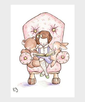 The Pink Chair & Brown-Haired Girl Print