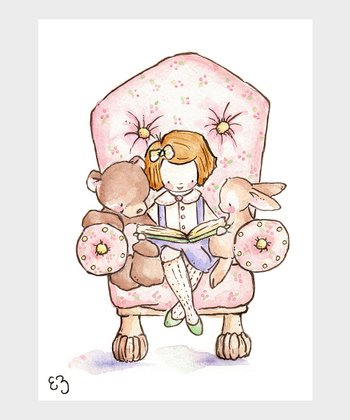 The Pink Chair & Auburn-Haired Girl Print
