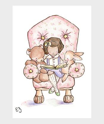 The Pink Chair & Dark-Haired Girl Print