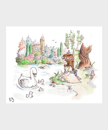 Brown-Haired Swan Princess Print