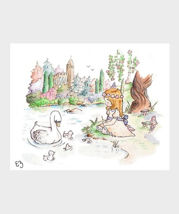 Auburn-Haired Swan Princess Print