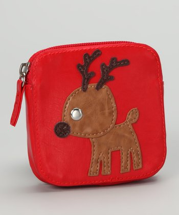Lu Lu Red Square Reindeer Coin Purse