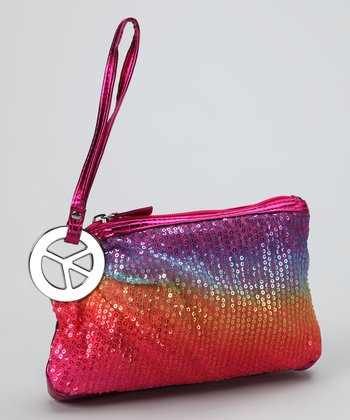Lu Lu Orange & Purple Sequin Peace Clutch