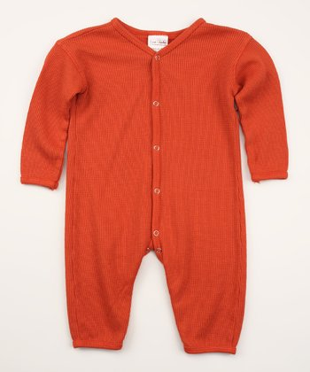 Smokey Red Thermal Organic Playsuit - Infant
