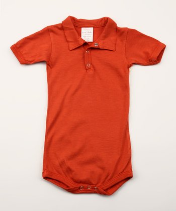 Smokey Red Organic Polo Bodysuit - Infant