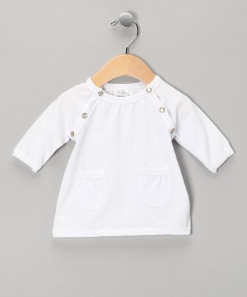 White Raglan Pocket Dress - Infant