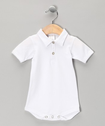 White Polo Bodysuit - Infant