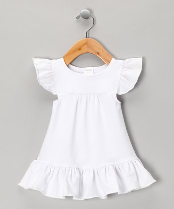 White Angel-Sleeve Dress - Infant