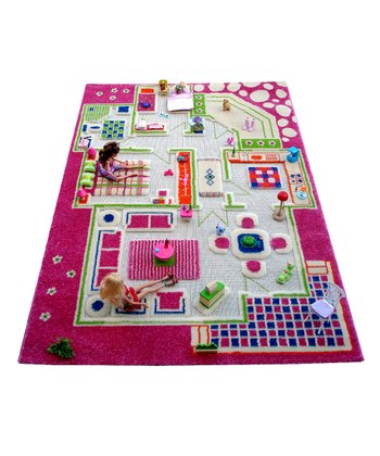 Luca and Company Pink Playhouse Rug