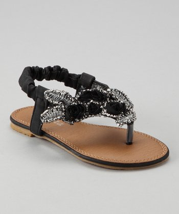 Black Beaded Rosette Sandal