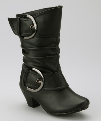 Black Auto Buckle Boot