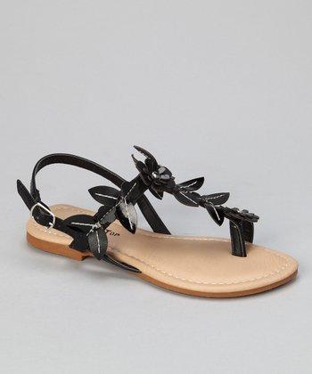 Black Leaf & Flower Sandal