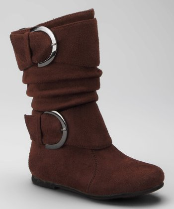 Brown Data Buckle Faux Suede Boot