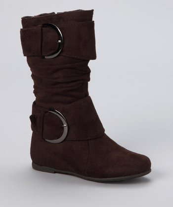 Brown Data Buckle High Boot