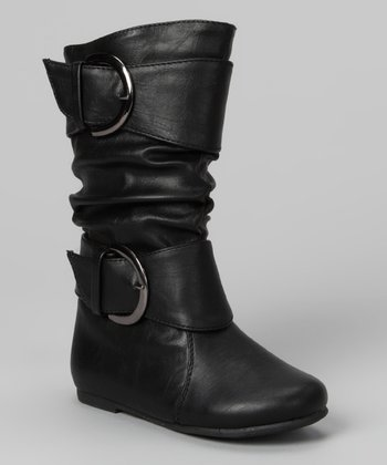 Black Data Buckle Boot