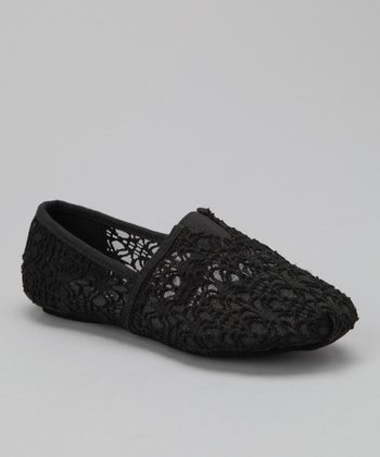 Black Lace Panel Slip-On Shoe