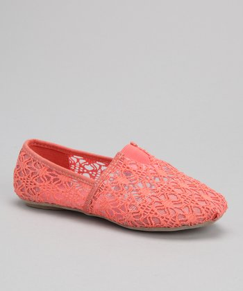 Coral Lace Panel Slip-On Shoe