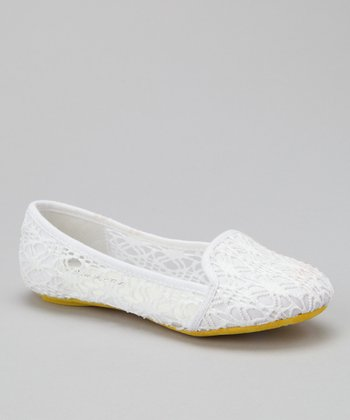 White & Yellow Sole Lace Tuxedo Flat