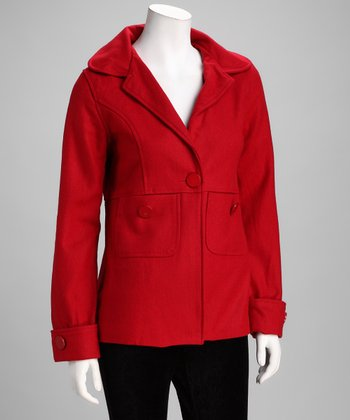 Red Single-Button Wool Coat