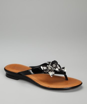 Black Metallic Floret Sandal