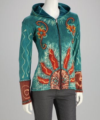 Turquoise Sunburst Bleach Detail Zip-Up Hoodie