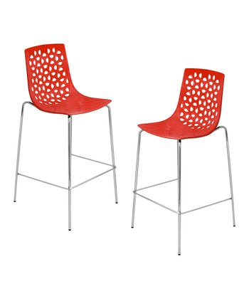 Lumisource Red Lola Bar Stool - Set of Two