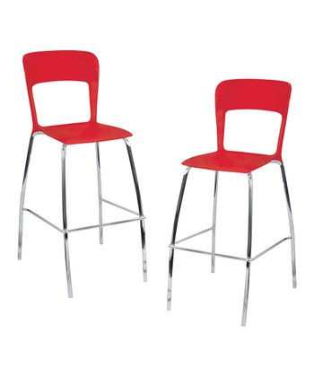Lumisource Red Tone Bar Stool - Set of Two