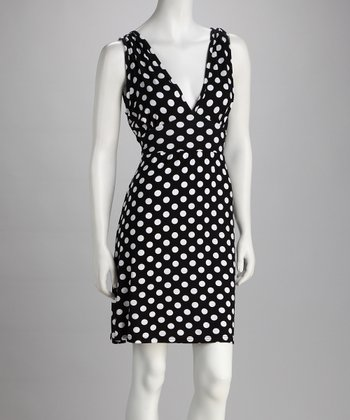 Luna Claire Black Polka Dot Fiona V-Neck Dress