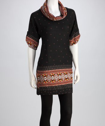 Luna Claire Black & Red Hailey Cowl-Neck Sweater Dress