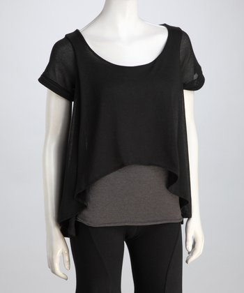 Black & Gray Vera Hi-Low Layered Top